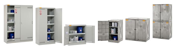 Umwelt- und Chemikalienschränke bieten Sicherheit bei der Lagerung von Gefahrstoffen und aggressiven Medien