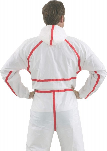 Chemie-Schutzanzug 4565 weiß+rot Größe M